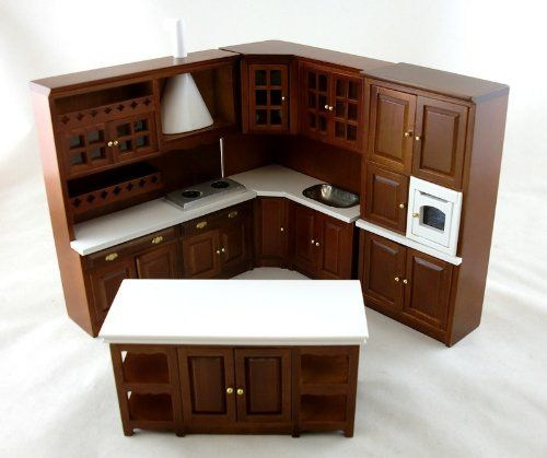 Puppenhaus Miniatur 1:12 Maßstab Aus Holz Walnut Burlington Einbauküche  Möbel Set: Amazon.