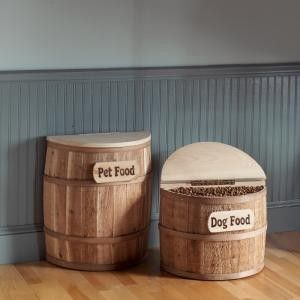 Snacker Barrel Dog Food Storage. Love the barrels and the pea board