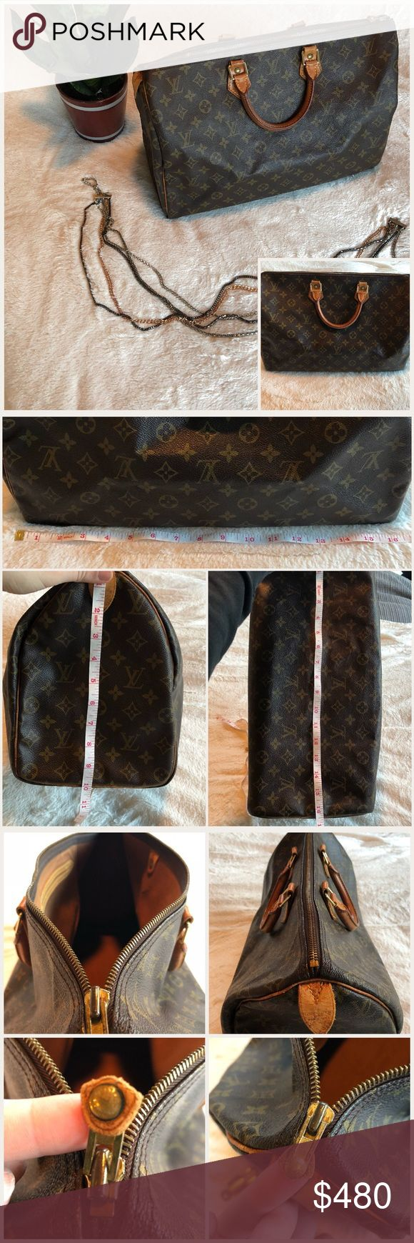 Authentic Louis Vuitton Speedy 40 w/🔐 Louis Vuitton Speedy 40- Authentic Please read description & see pics!   No dust bag and no box Did buy replacement lock and key Zipper works great! The pull on supper is torn off the tabs on each end are very worn and the lock tab there is a slight tear below stitching  There are minor cracking and wear on the edging  minor scratches and rub in the handle / tabs some marking on leather there is a minor Oder in the bag No trade / OPEN TO OFFERS  ASK…