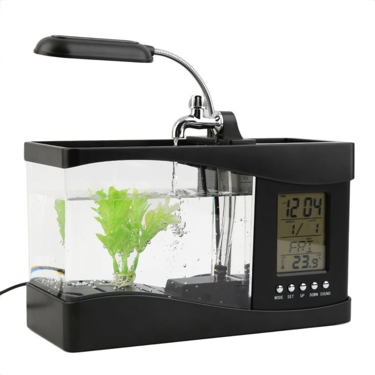 This cool USB desktop aquarium features a 1.5 l fish tank with decorative pebbles and plant.  It comes with an overhead LED light, multi-color interior lights, dual compartment organizer and 6 modes of tranquil nature sounds.