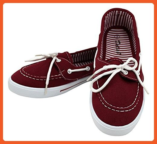 Enimay Women's Original Style Slip-On Casual Canvas Boat Shoe Loafer Flats, Burgundy, 6.5 - Sneakers for women (*Amazon Partner-Link)