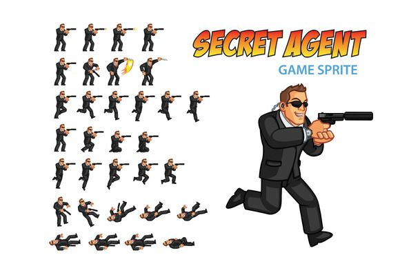 Secret Agent Game Sprite by Gagu on Creative Market