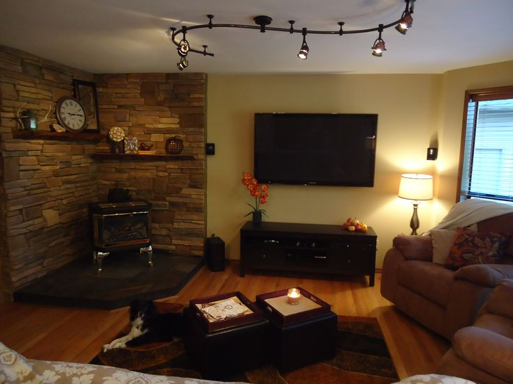 Family Room...love the wood stove in the corner
