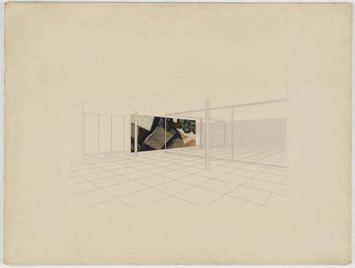 Ludwig Mies van der Rohe. House with Three Courts Project, Interior perspective. c. 1938