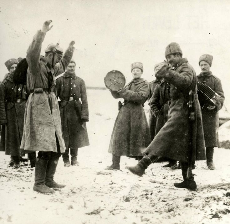 Eastern Front of WWI - Russians are teaching German war prisoners to dance, Eastern front, Russia, 1915 (click to see more)
