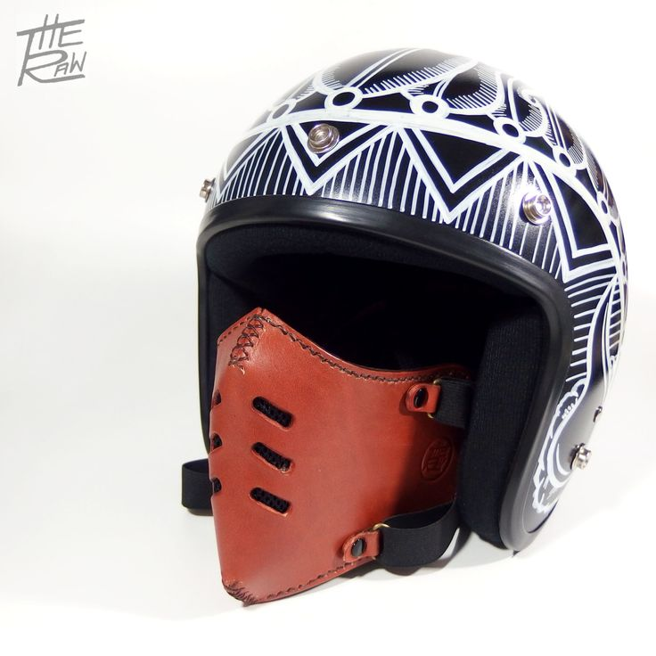 Moto genuine leather mask vintage and steampunk design good for open face helmet brand The Raw by TheRawCustomize on Etsy