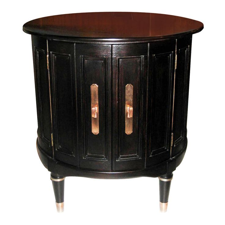 1stdibs pair of ebonized drum end table cabinets