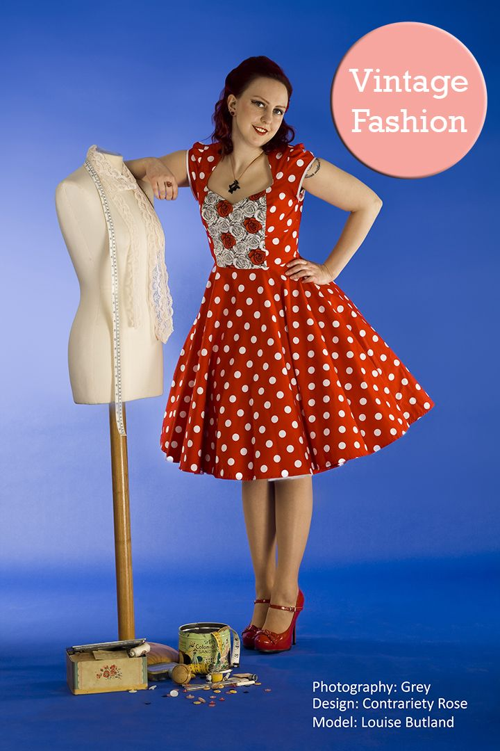 The designer, Louise Butland, and her favourite red, polka dot dress. #Vintage