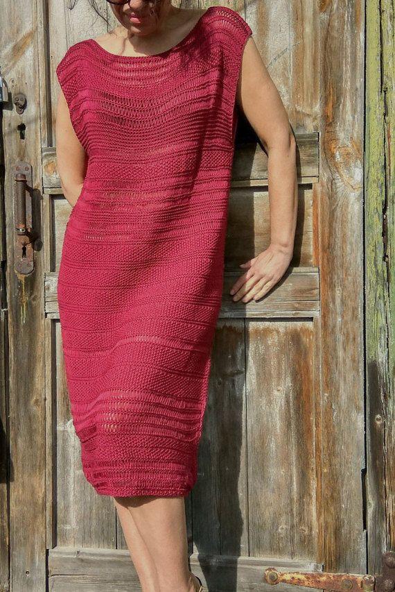 Marsala dress Handknitt dress Burgundy dress от JuliasFineKnits
