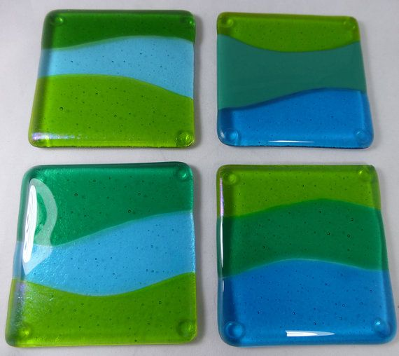 Coaster Cermak Contemporary Square Black Metal Base Glass: Fused Glass Ocean Wave Coasters With Turquoise, Aquamarine