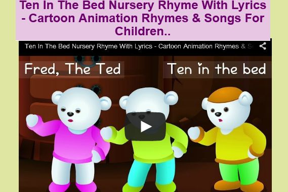 Ten In The Bed Nursery Rhyme With Lyrics - Cartoon Animation Rhymes & Songs For Children..