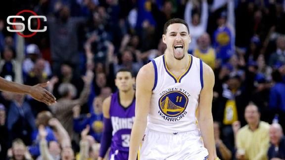 Golden State Warriors' Klay Thompson sets new NBA record for most points in a quarter (37 points) and sets his own personal record of 52 points in a game! Too hot, the defense couldn't touch him!