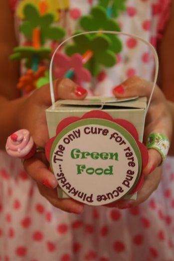 """Pinkalicious themed party details """"the only cure for rare and acute pinkititus is green food"""""""