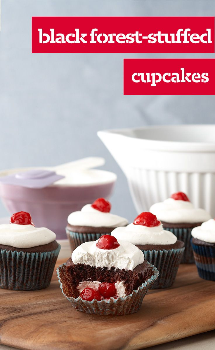 Black Forest-Stuffed Cupcakes — Our Black Forest cupcakes are stuffed with cherry pie filling and have been known to practically fly off bake sale tables across the land.