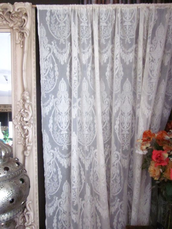 gauze embroidered tulle garden curtains on cotton lace vintage ivory from home fabric in curtain bridal ebay antique