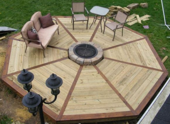 Wood Deck With Fire Pit Design Ideas Multi Level Octagon Patio With Firepit Outdoorwood Deck Fire Pit Fire Pit Patio Diy Deck