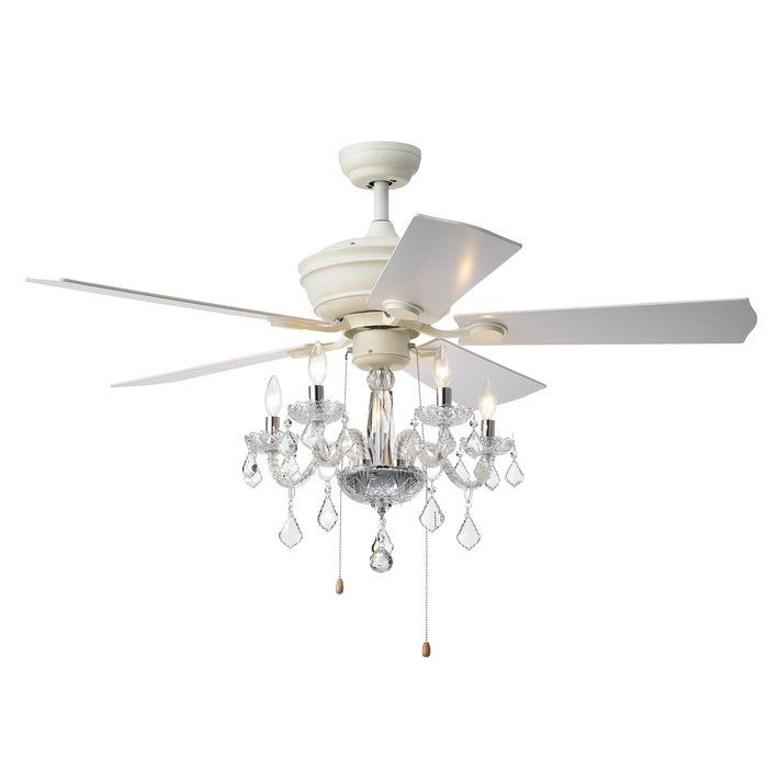 19 Ridgway 5 Blade Crystal Ceiling Fan With Pull Chain And Light Kit Included Ceiling Fan Chandelier Ceiling Fan With Light Ceiling Fan