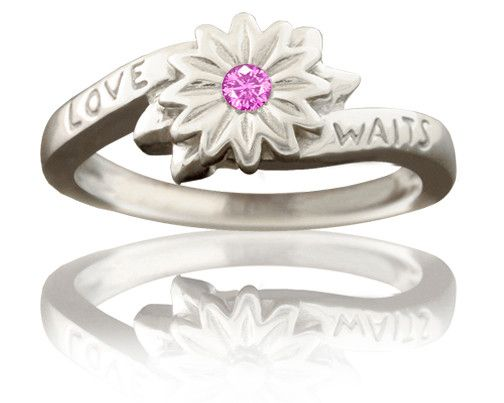 Girl's Purity Ring - Love Waits Flower with Pink Sapphire in Silver