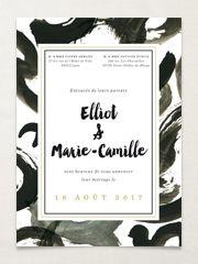 Faire-part de mariage original et design Eléonore noir et or - www.dioton.fr -