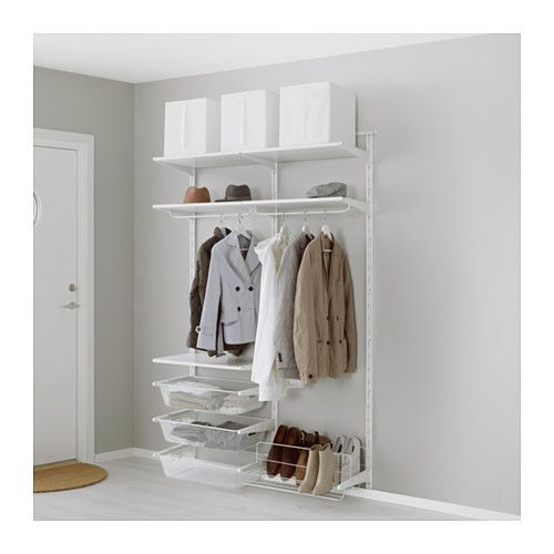 IKEA - ALGOT, Wall upright/rod/shoe organizer, The parts in the ALGOT series can be combined in many different ways and easily adapted to your needs and space.If your needs change, you can quickly rebuild your ALGOT storage solution, since shelves, rods and baskets are easy to click in and out.You can organize your wardrobe or dressing room with the ALGOT series. With shelves along the top and shoe storage along the bottom, you can make optimal use of the space.Can also be used in b...