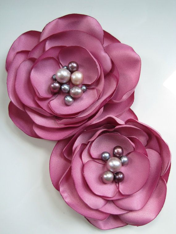 broche de flor de tela antiguo rosa flores por MariaLouiseHightoo