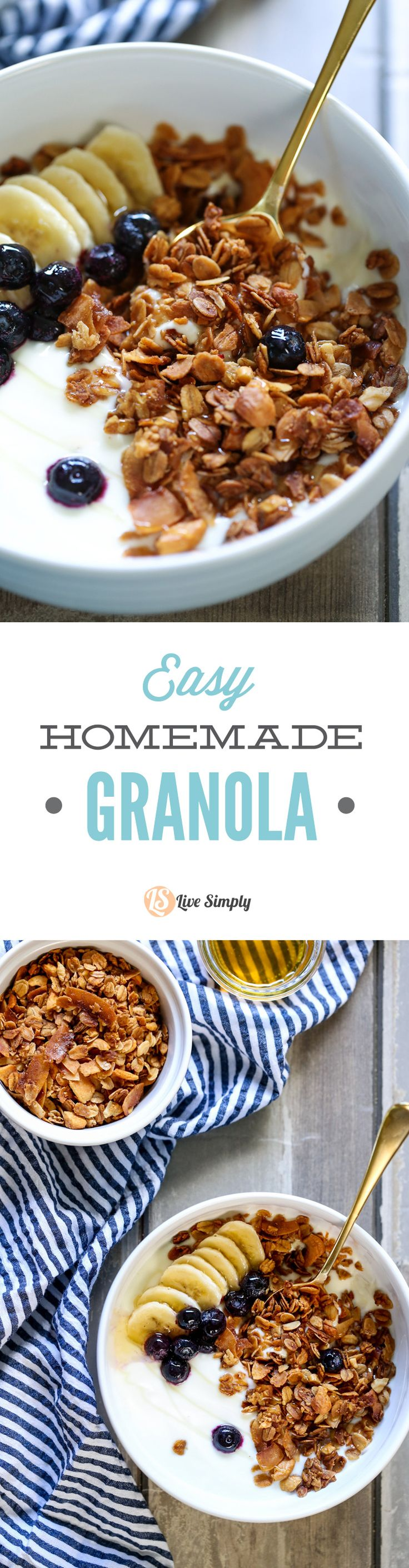 A super easy and healthy homemade granola! This recipe only takes minutes to toss together. Perfect for breakfast or a quick snack. Basic pantry ingredients only.