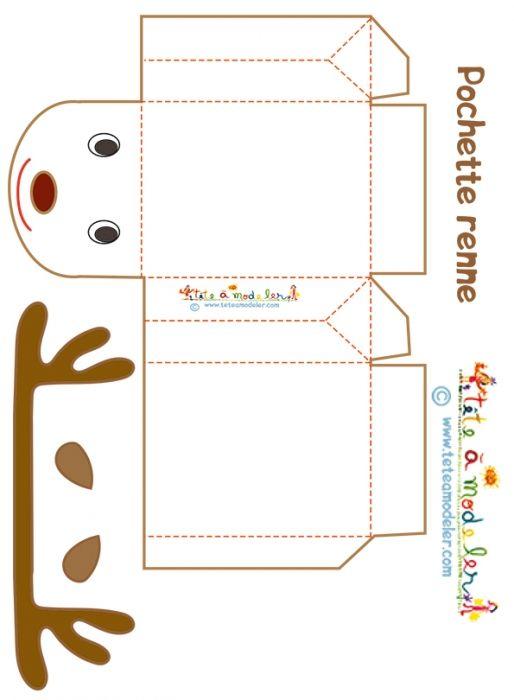 coloriage Pochette cadeau renne blanc
