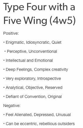 4w5 Personality. Enneagram Type 4 with a 5 Wing