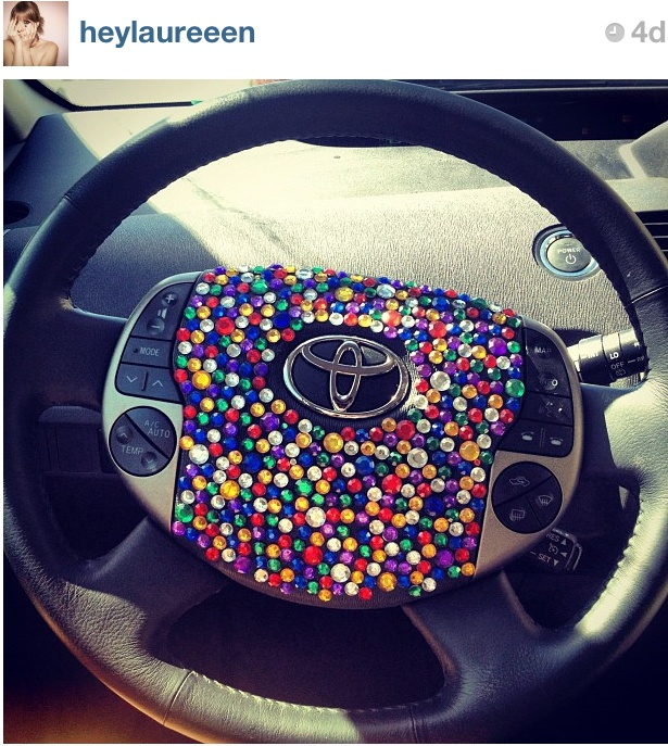 Bedazzled steering wheel this clever craft idea repinned by on line store for - Girly interior car accessories ...