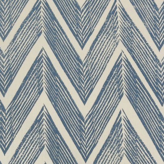 Zig Zag Linen Fabric A stylish linen fabric with a zig zag pattern printed in blue on a cream ground. The design was created in 1935 by Enid Marx, celebrated painter and designer of textiles.