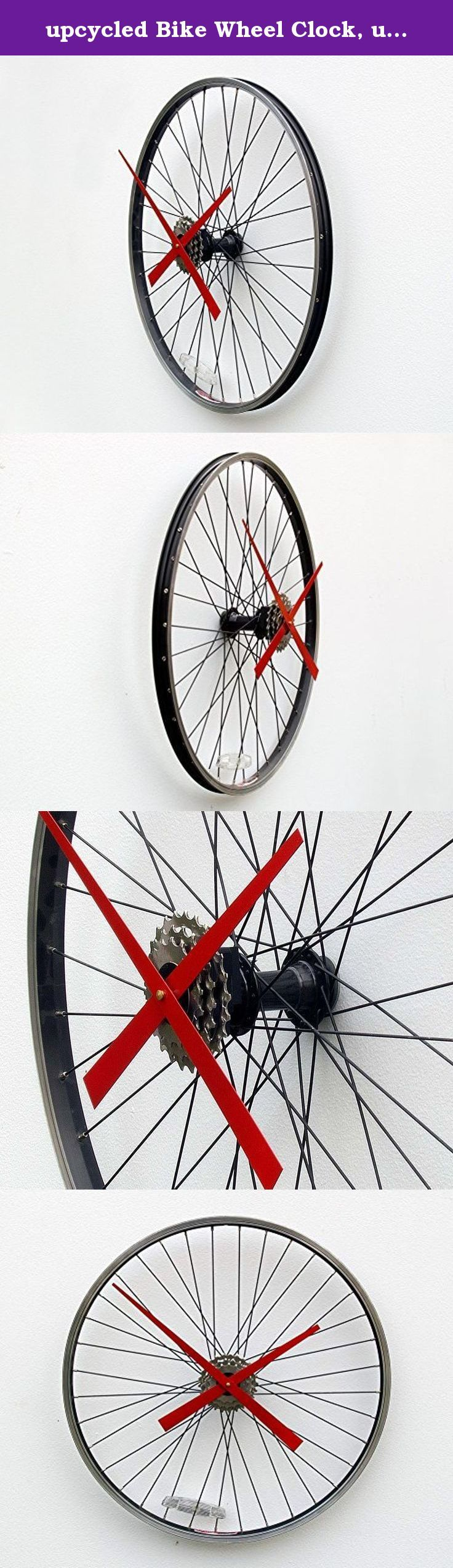 upcycled Bike Wheel Clock, unique large wall clock, bike clock, bicycle wheel clock, industrial wall clock, cyclist clock, upcycled bike parts clock, cycle parts clock. This clock was created from a recycled aluminum bike wheel. The wheel mounts directly to the wall through the hub using a hollow wall anchor and gives the illusion that it is floating off the wall. The clock movement is a high torque quartz movement and is attached to a set of rear cassette gears to conceal the movement…