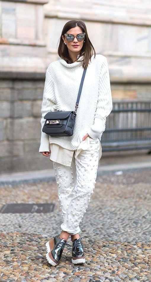 Street Style_roll neck sloppy joe sweater worn with classic shirt & decorative denim   Saved by Gabby Fincham  