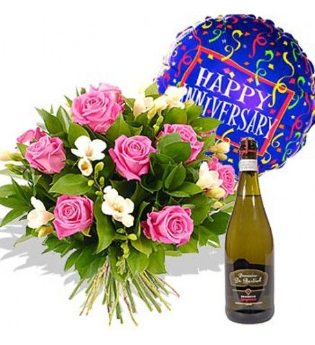 This lovely bouquet is called 'Fondest Affections', so what could be more appropriate to send to celebrate an anniversary with a loved one to show you really care? With the addition of a bottle of Prosecco to share whilst reminiscing over past happy memories, this is the perfect anniversary gift.