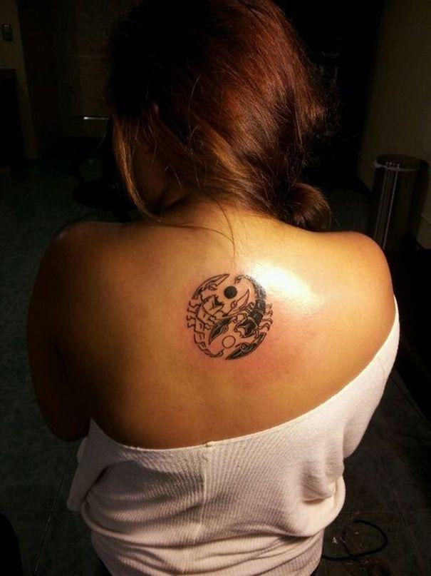 scorpio zodiac tattoo on back