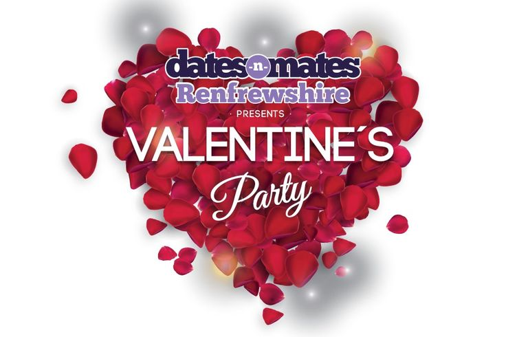 RENFREWSHIRE'S VALENTINE'S PARTY –  Logo or branding design for dates-n-mates Renfrewshire's Valentine's Party. Design was made in the shape of the heart with rose petals making it an elegant look.
