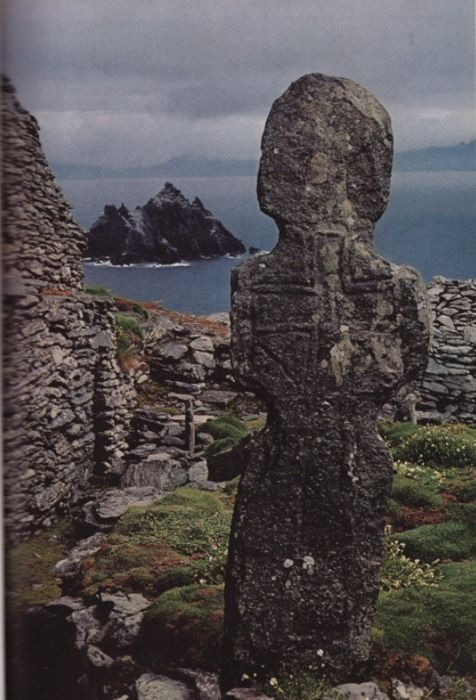 1,000 year old Stone marker wears the outline of a Latin cross, carved by Irish monk at Skellig Michael, off the coast of Ireland.: History, Ireland, Stones Markers, A Thousand Years, Islands, Storms Swept, Markers Wear, Latin Crosses, Irish Monk