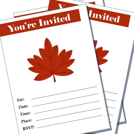 Party invitation  maple leaf