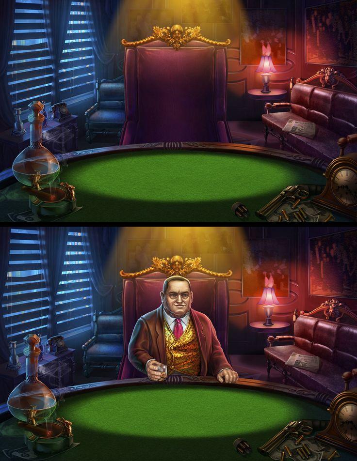 "Graphic design of bonus background and a dealer for the game slot-machine ""Mafia hunt"" http://slotopaint.com/"