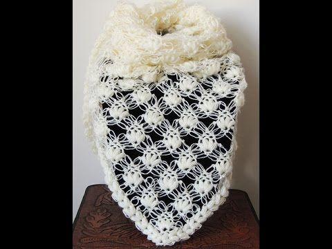 Crochet : Punto Esponjoso y Salomon. Chal en V.  Parte 1 de 2