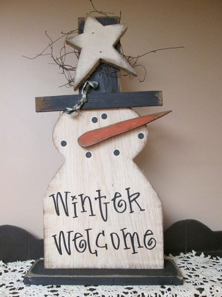 2ft Snowman on Base Winter Welcome :: Wood Craft items :: WINTER :: Wholesale Country Primitive Gifts/ Kp Home Collection