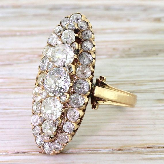Victorian 4.00 Carat Old Cut Diamond Cluster Ring, circa 1870