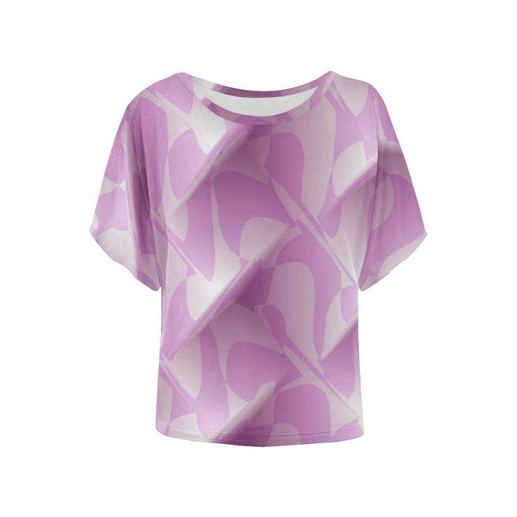 Subtle Light Purple Cubik - Jera Nour Women's Batwing-Sleeved Blouse T shirt (Model T43)