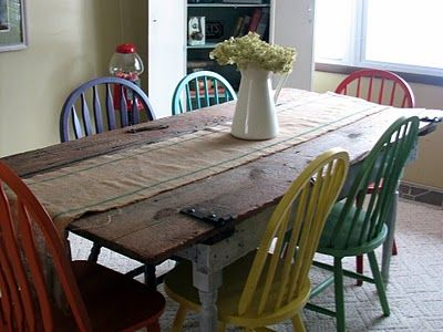 replace table top with old barn wood, paint & distress legs, & paint chairs (I would probably go with all barn red- or maybe 4 red & 2 robins egg blue....