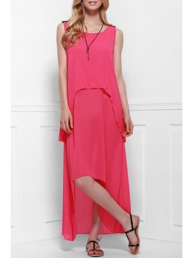Hem irregular vestido rosado acodado
