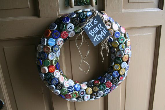 20 Creative Bottle Cap Ideas (Recycle Crafts) I've got a ton of buttons that would make a great wreath, also.
