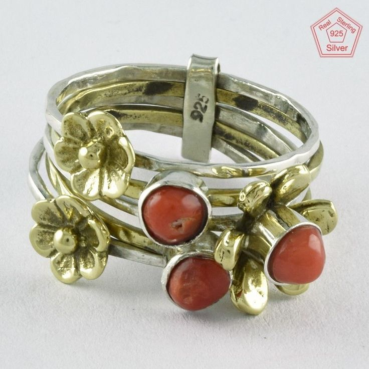 SZ. 7 US CORAL STONE BRASS FLOWER 925 HANDMADE STERLING SILVER STACKABLE RING #SilvexImagesIndiaPvtLtd #Stackable #AllOcassions