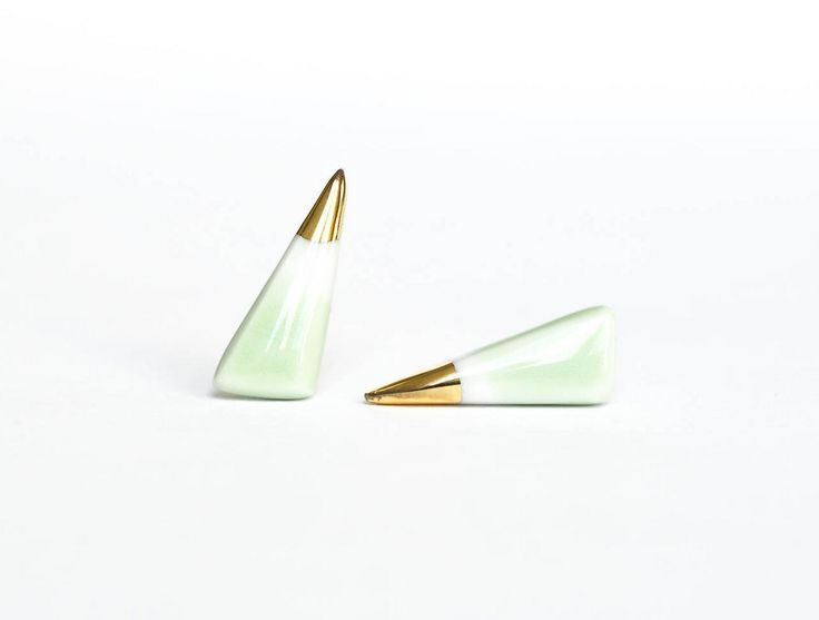 LK.minilab | Porcelánové náušnice dekorované zlatom