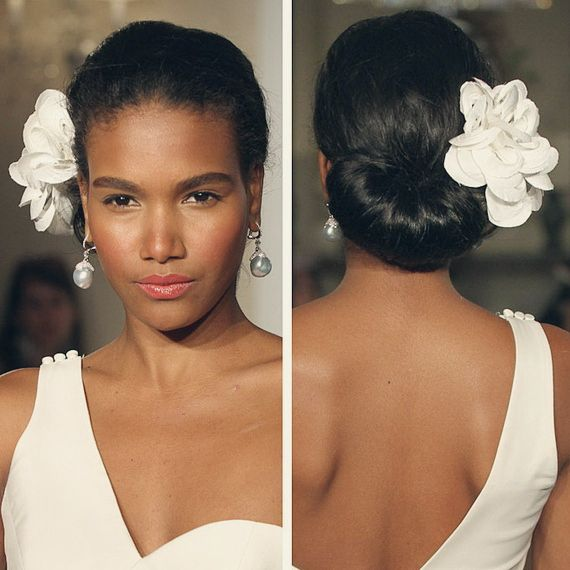 updo wedding hairstyle for black women with silky wavy human hair extension clip in