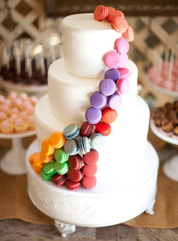 Great way to incorporate colour into a cake - and who doesnt love macaroons? annie mcelwain photography cake