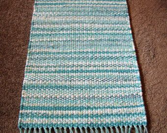 Rag Rug in Bright Aqua and White with Hand Tied Aqua and Silver Fringe, Handwoven Rag Rug, Free Shipping!